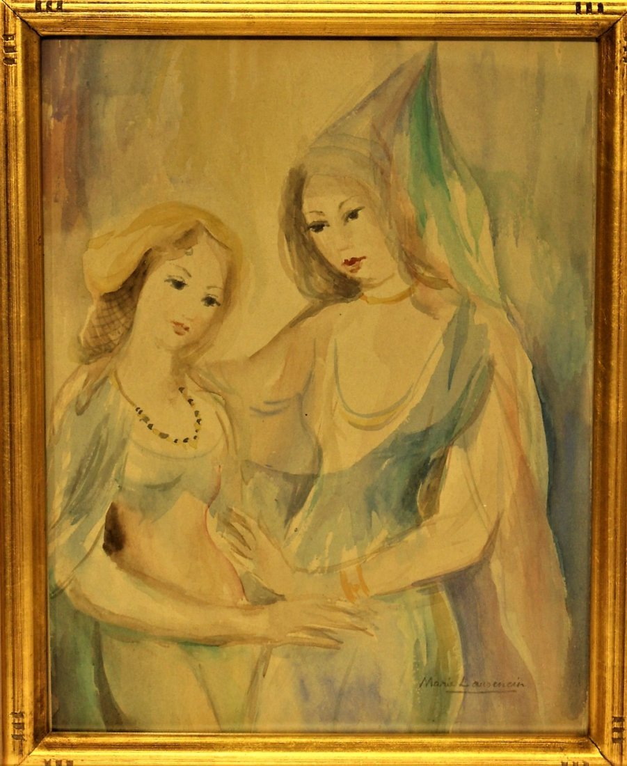 MARIE LAURENCIN, Watercolor MOTHER AND DAUGHTER
