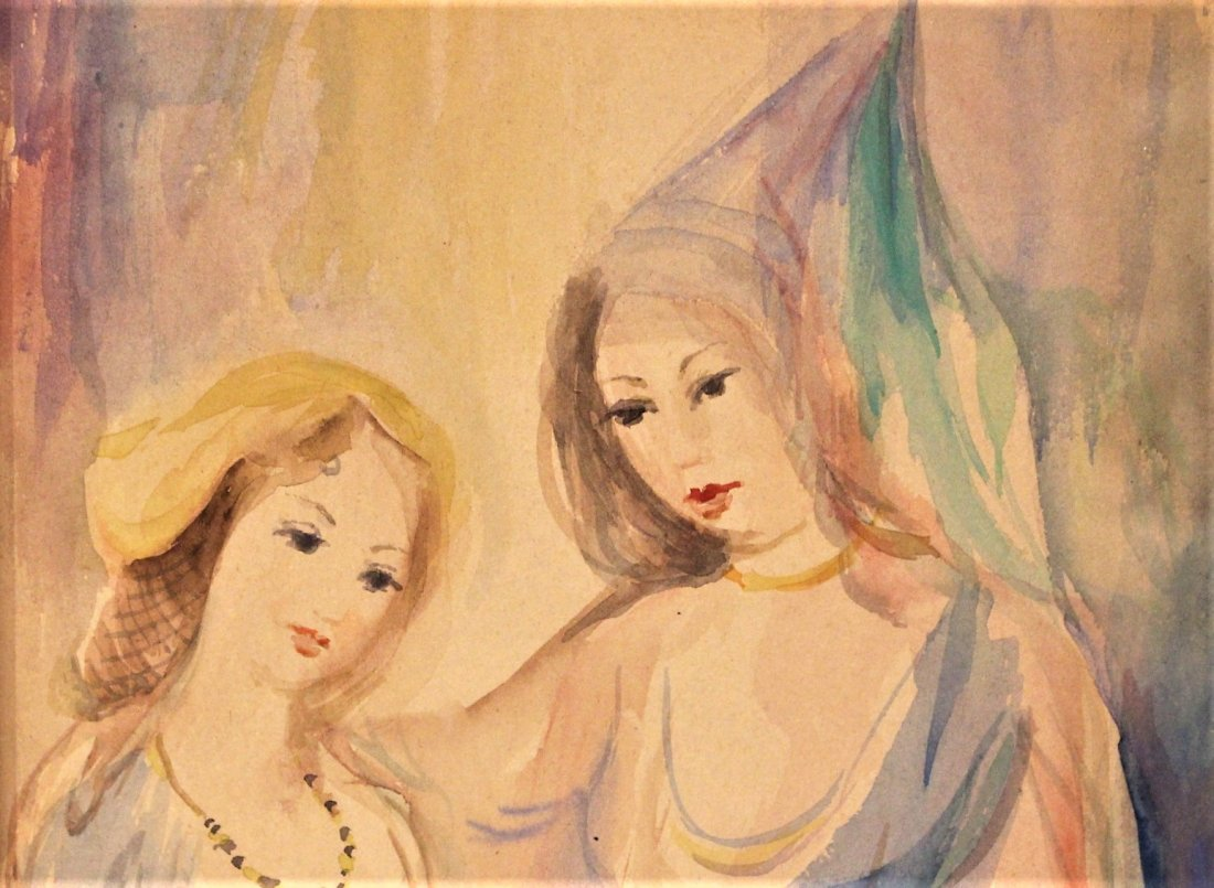 MARIE LAURENCIN, Watercolor MOTHER AND DAUGHTER - 3