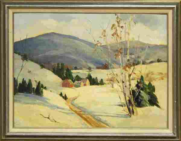 1950s Vermont Winter Landscape Unsigned Oil Painting.