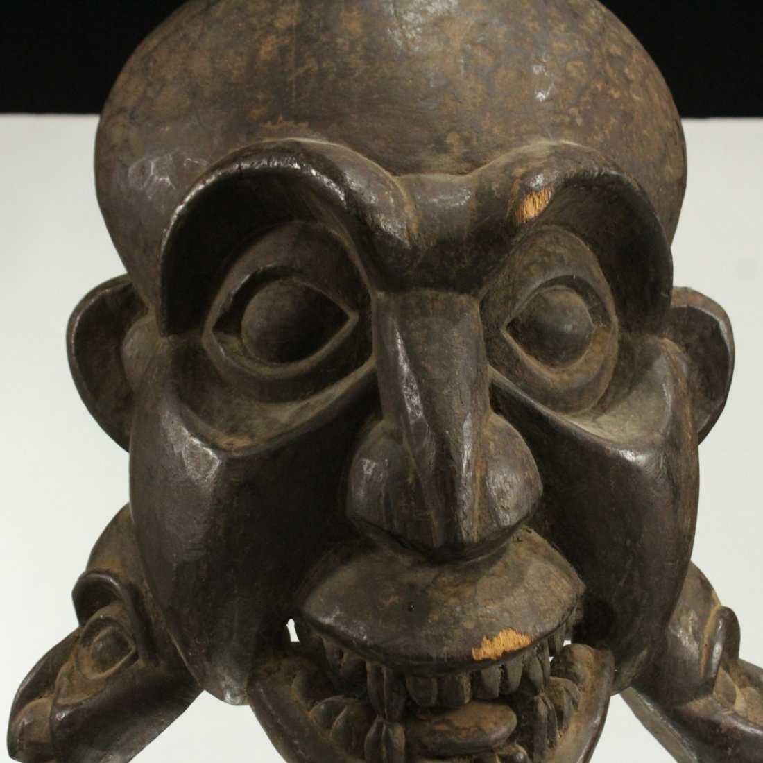 AFRICAN CEREMONIAL FULL HEAD MASK - Hand Carved - 3