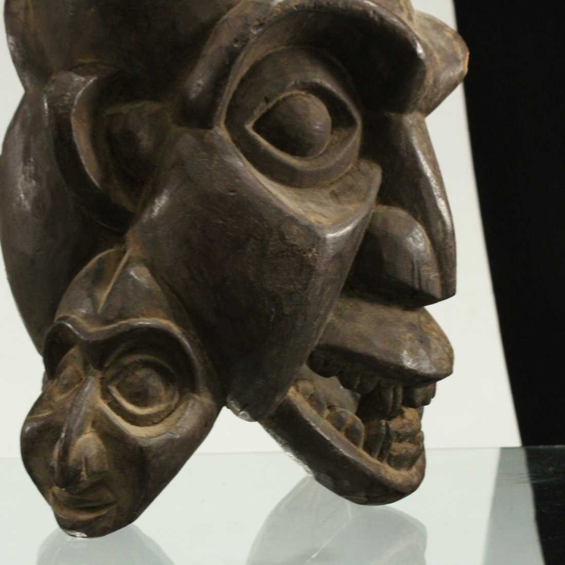 AFRICAN CEREMONIAL FULL HEAD MASK - Hand Carved - 4