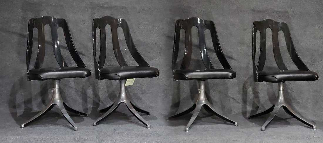 SET OF 4 SMOKED LUCITE SWIVEL CHAIRS SPACE AGE DESIGN