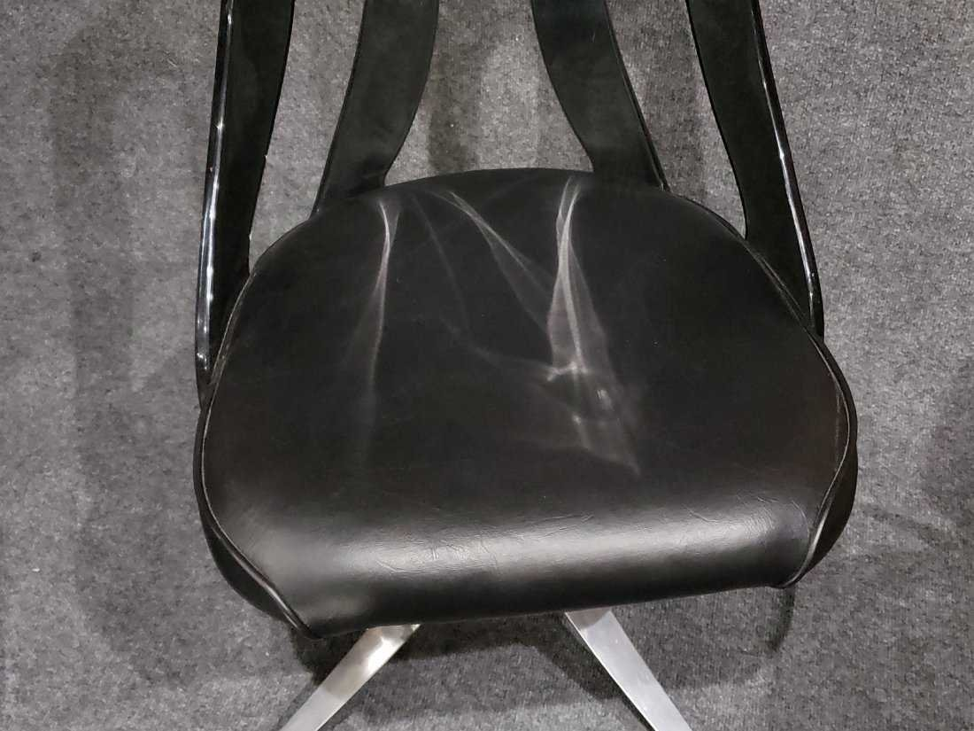 SET OF 4 SMOKED LUCITE SWIVEL CHAIRS SPACE AGE DESIGN - 3