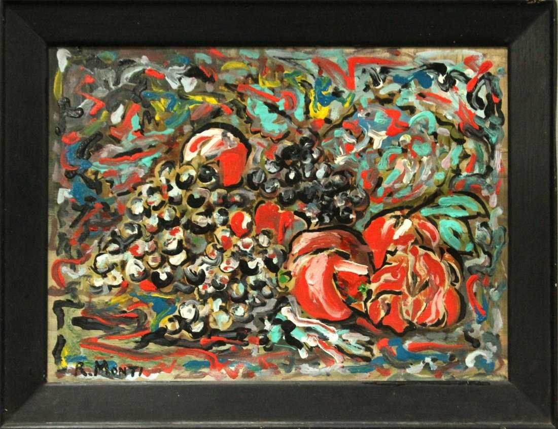 R MONTI Mid-Century STILL LIFE ABSTRACT GRAPES & FRUIT