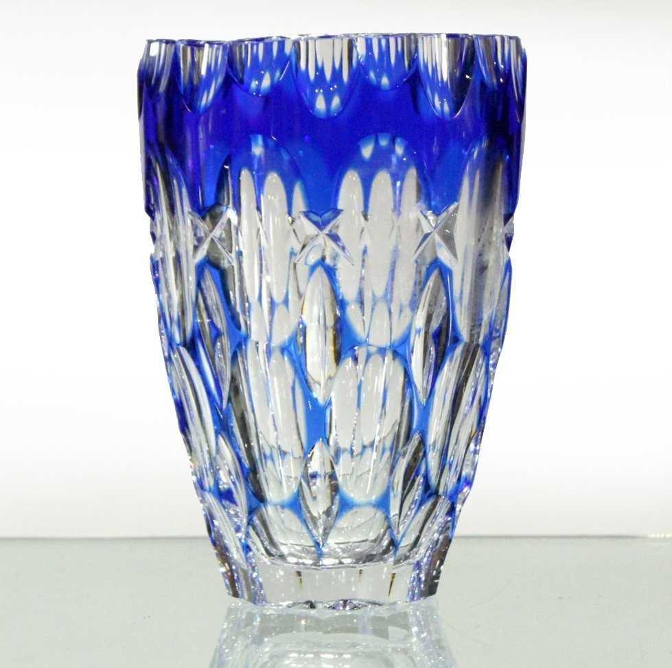 Bohemian Cut Glass Vase  - Cobalt Cut To Clear