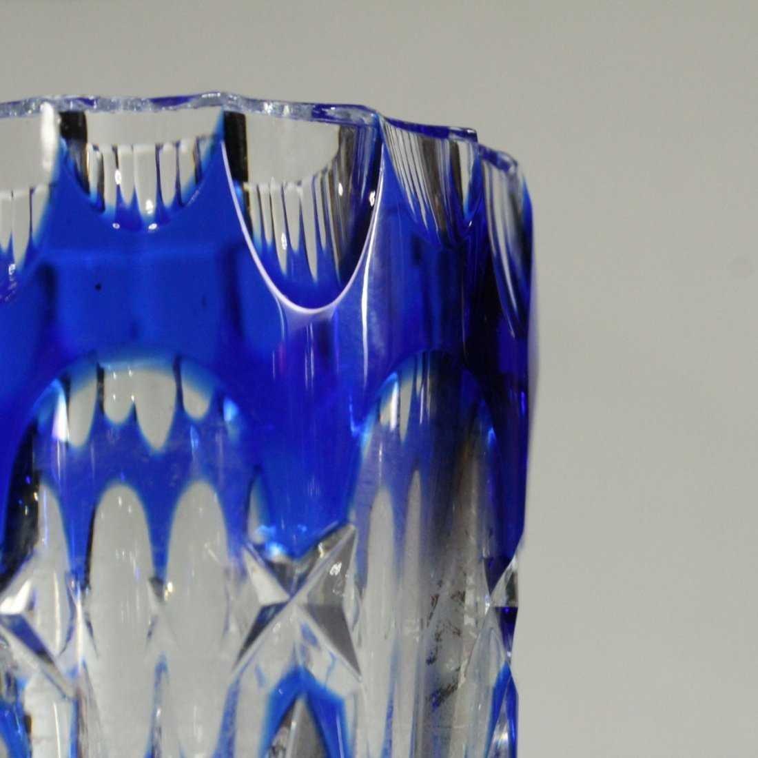 Bohemian Cut Glass Vase  - Cobalt Cut To Clear - 2