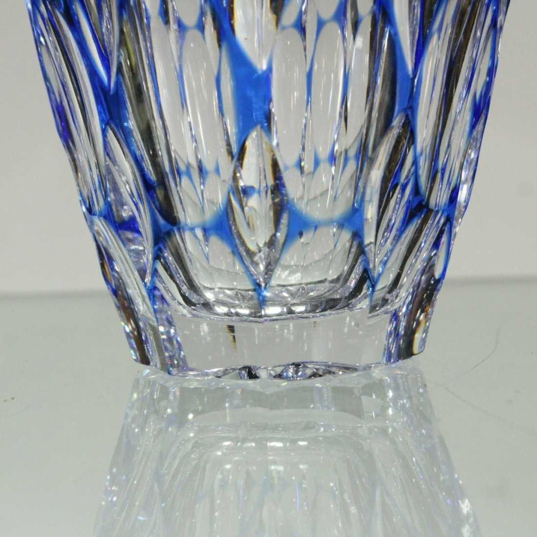 Bohemian Cut Glass Vase  - Cobalt Cut To Clear - 4