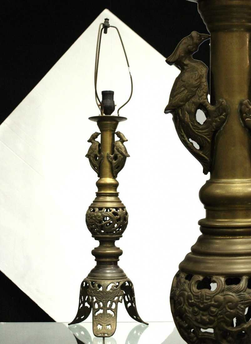 Antique ASIAN BRASS TALL LAMP With Applied Birds