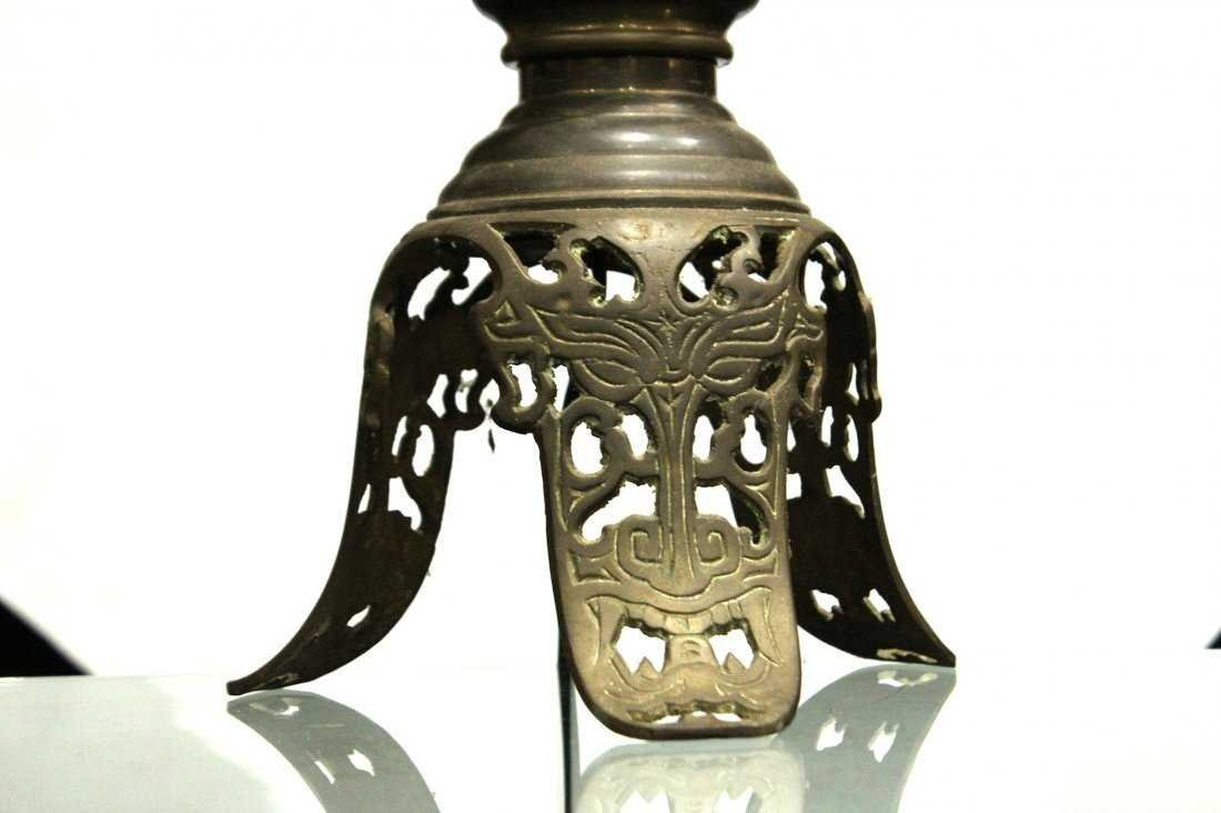 Antique ASIAN BRASS TALL LAMP With Applied Birds - 3