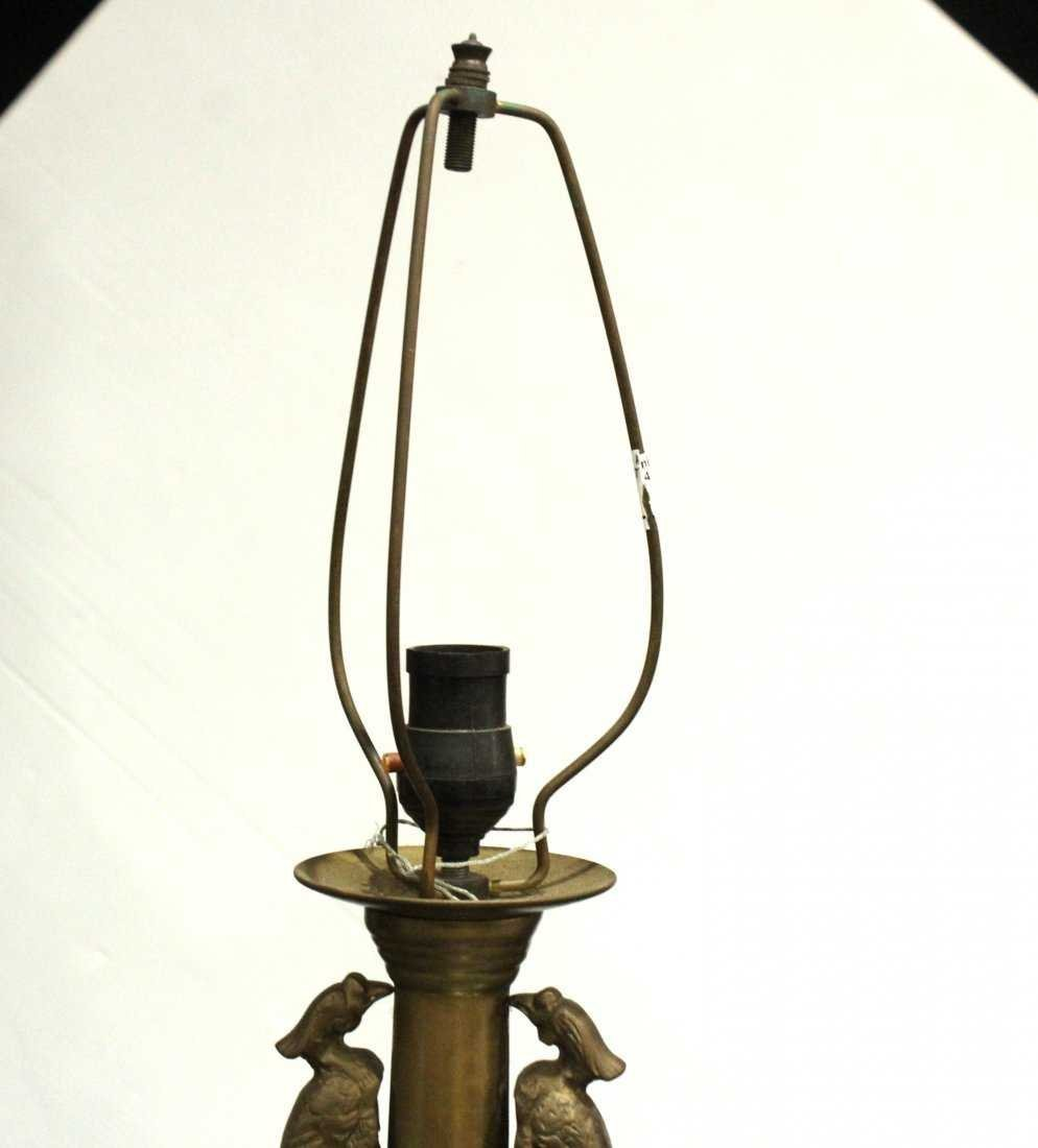 Antique ASIAN BRASS TALL LAMP With Applied Birds - 5