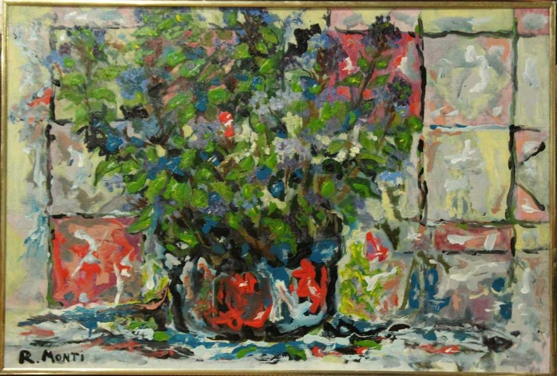 R MONTI , ABSTRACT FLOWERS IN FRONT OF WINDOW Oil/C