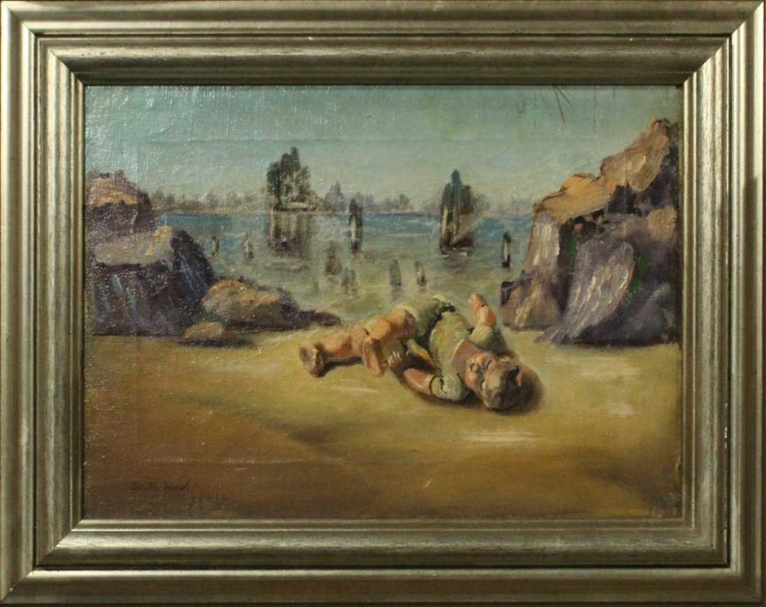 WALTER MURCH, Oil/C SURREAL INFANT ON SHORE