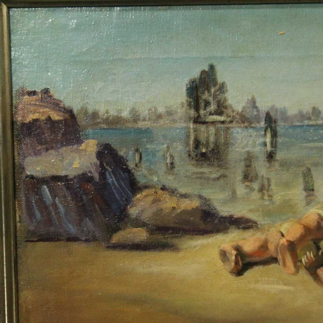 WALTER MURCH, Oil/C SURREAL INFANT ON SHORE - 2