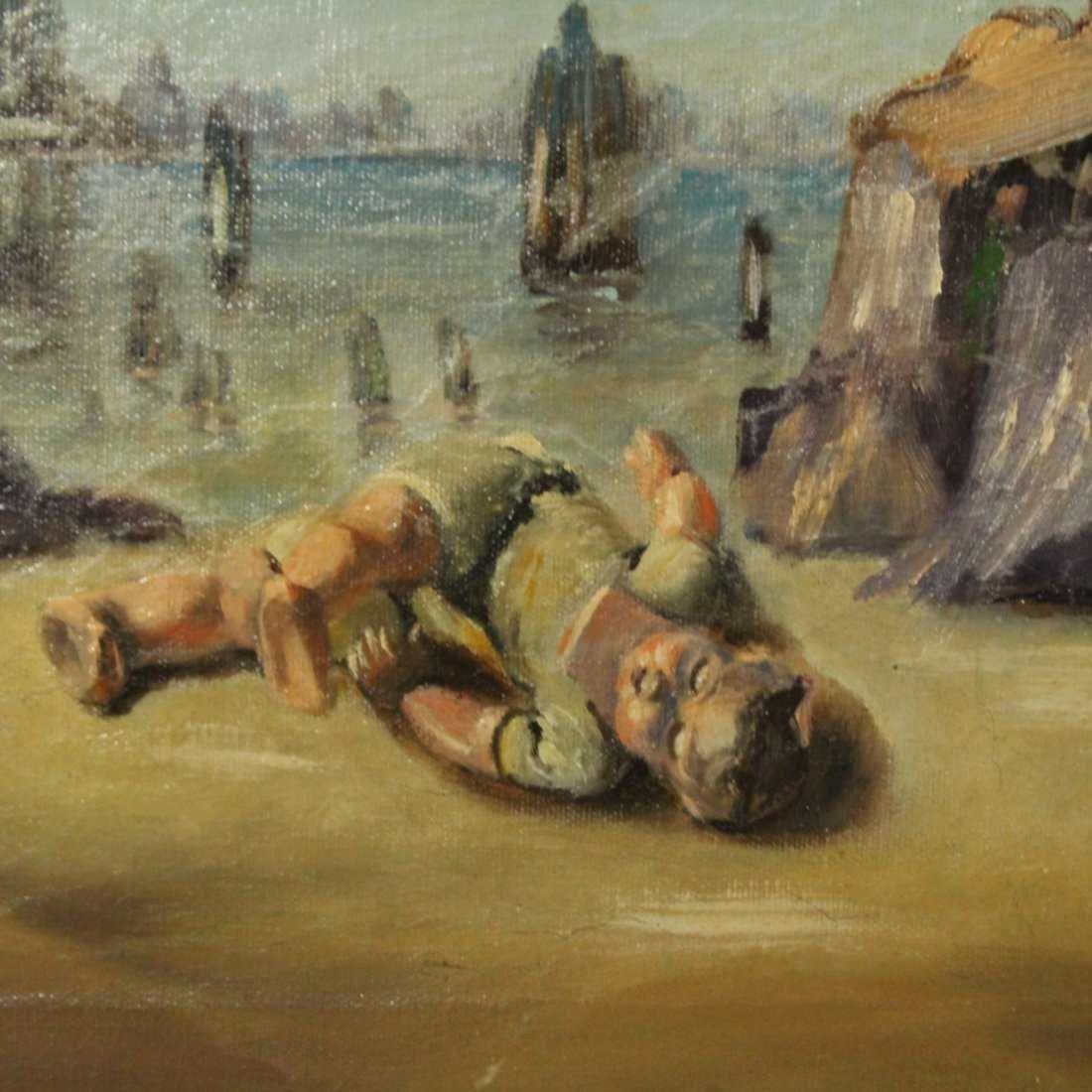 WALTER MURCH, Oil/C SURREAL INFANT ON SHORE - 3