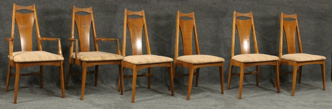 Six [6] Mid-Century Modern HIGH BACK DINING ROOM CHAIRS