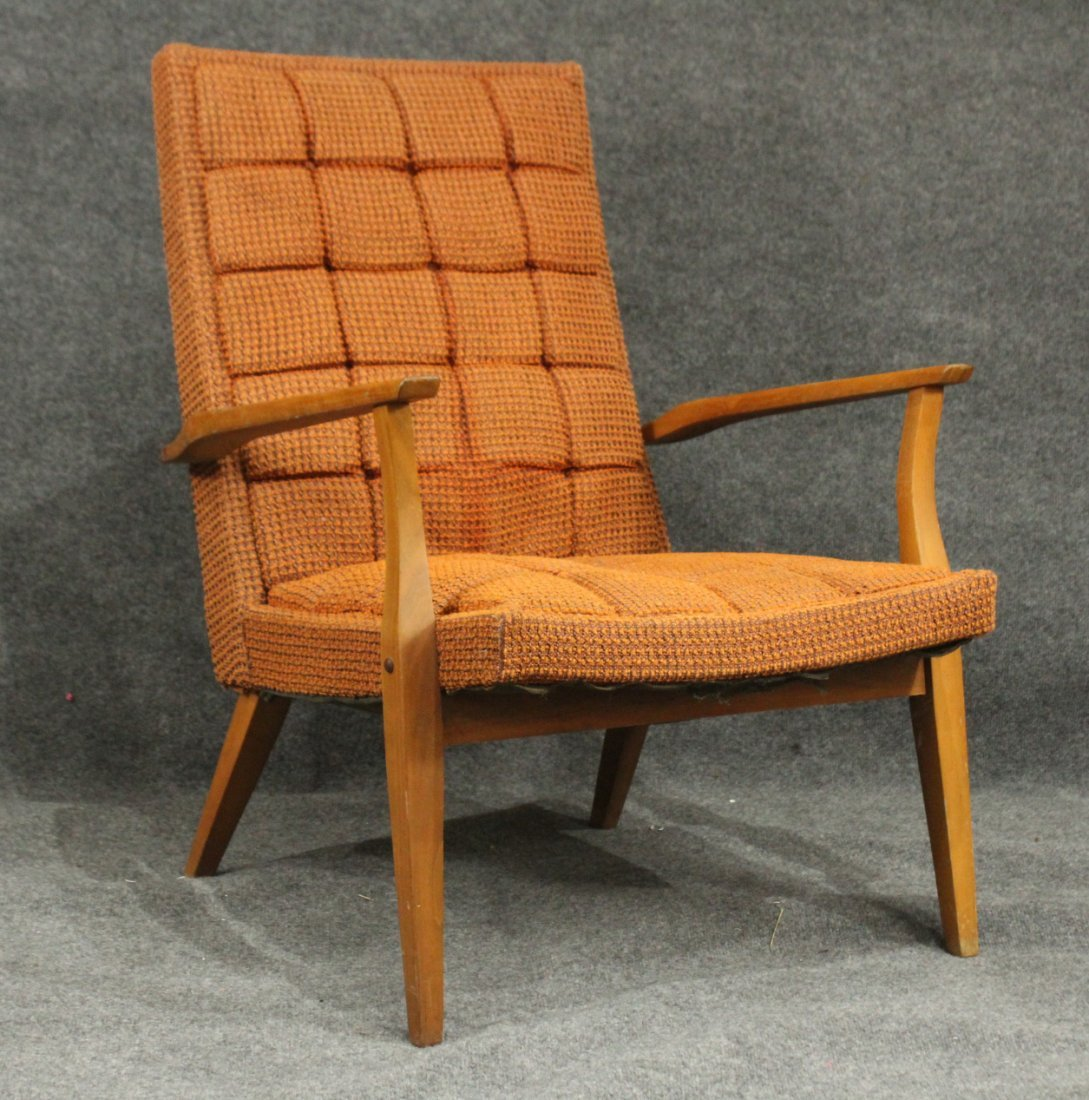 Mid-Century DANISH DESIGN LOUNGE CHAIR Orange Upholster
