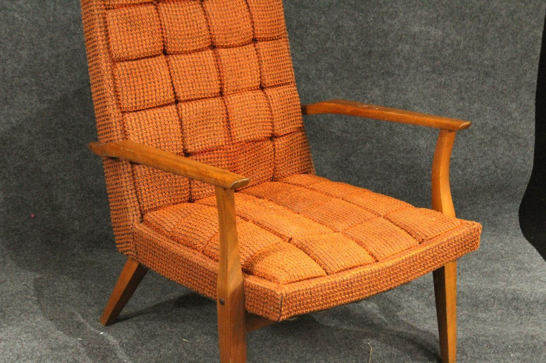Mid-Century DANISH DESIGN LOUNGE CHAIR Orange Upholster - 2