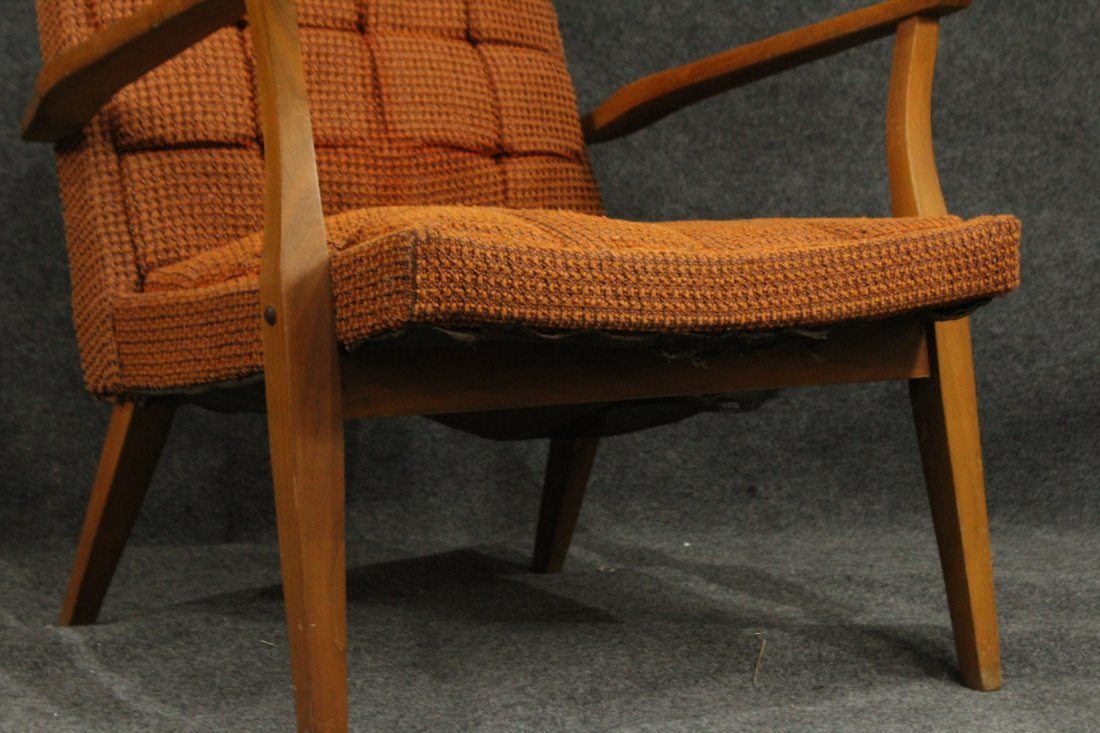 Mid-Century DANISH DESIGN LOUNGE CHAIR Orange Upholster - 3
