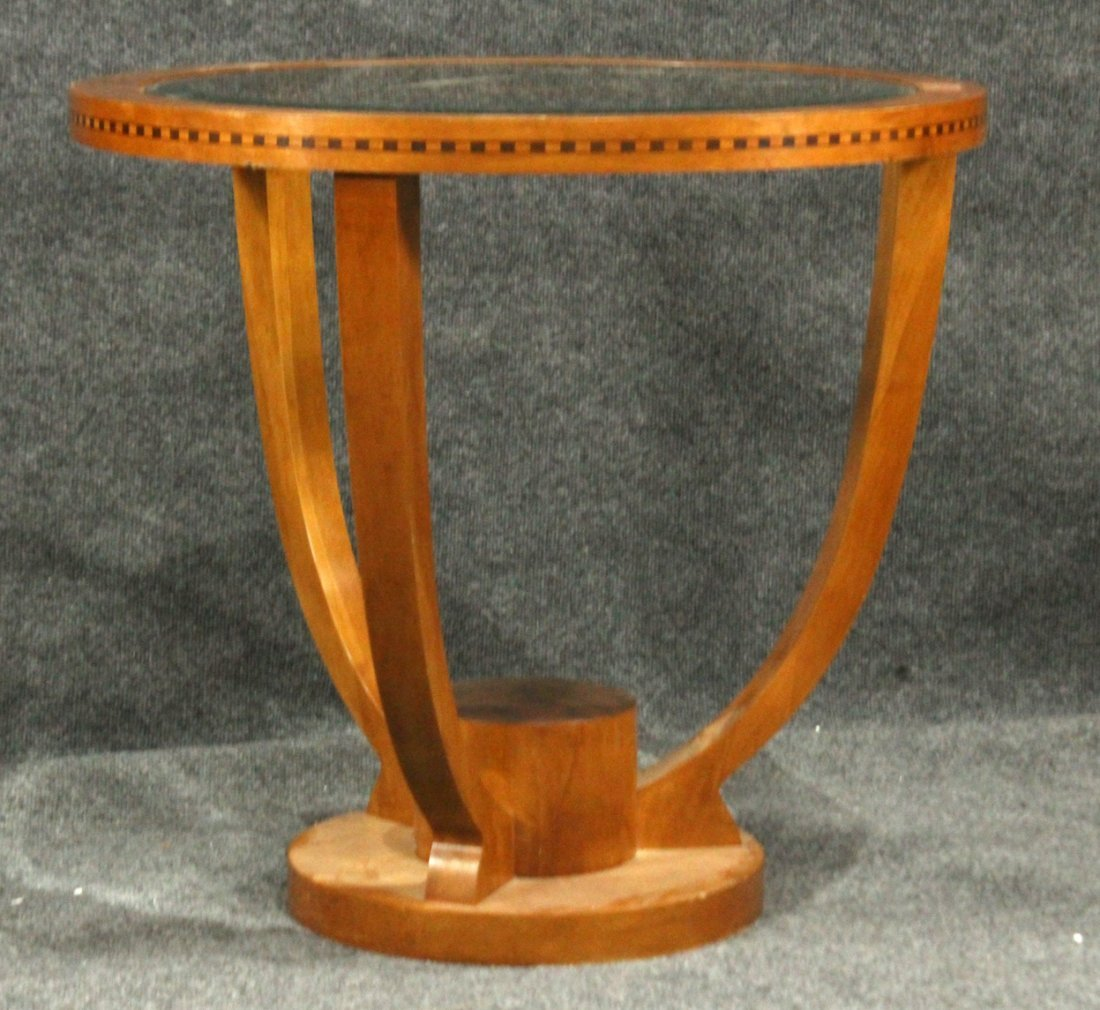 FRENCH ART DECO ROUND STAND Glass Inset Top