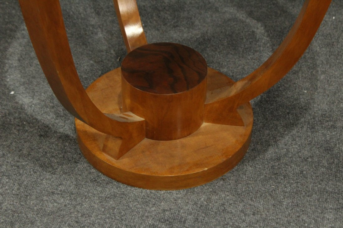 FRENCH ART DECO ROUND STAND Glass Inset Top - 2