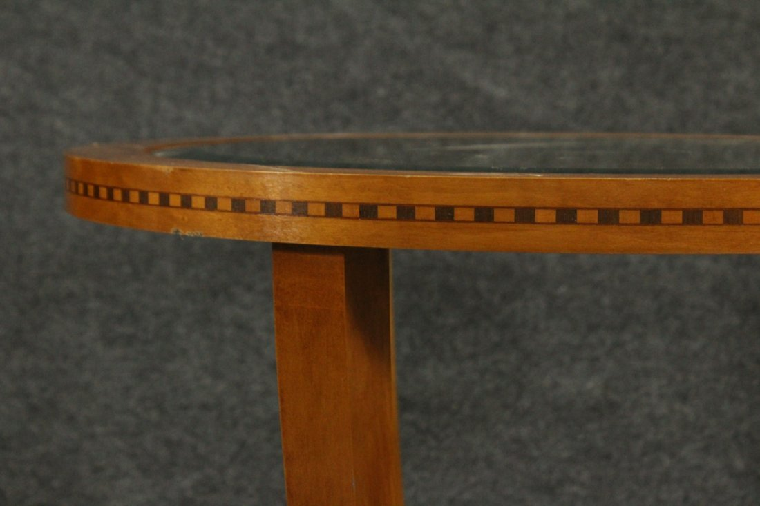 FRENCH ART DECO ROUND STAND Glass Inset Top - 3