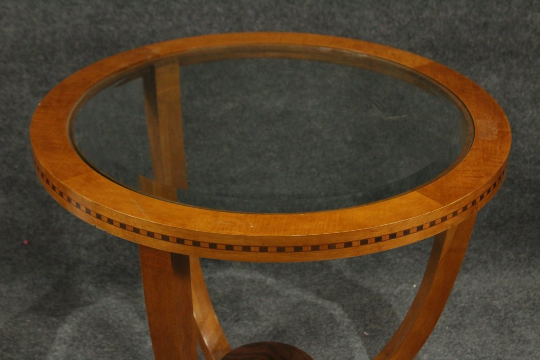FRENCH ART DECO ROUND STAND Glass Inset Top - 4