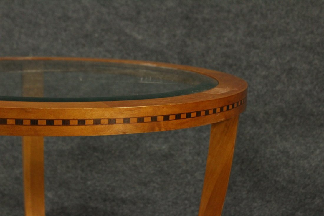 FRENCH ART DECO ROUND STAND Glass Inset Top - 5