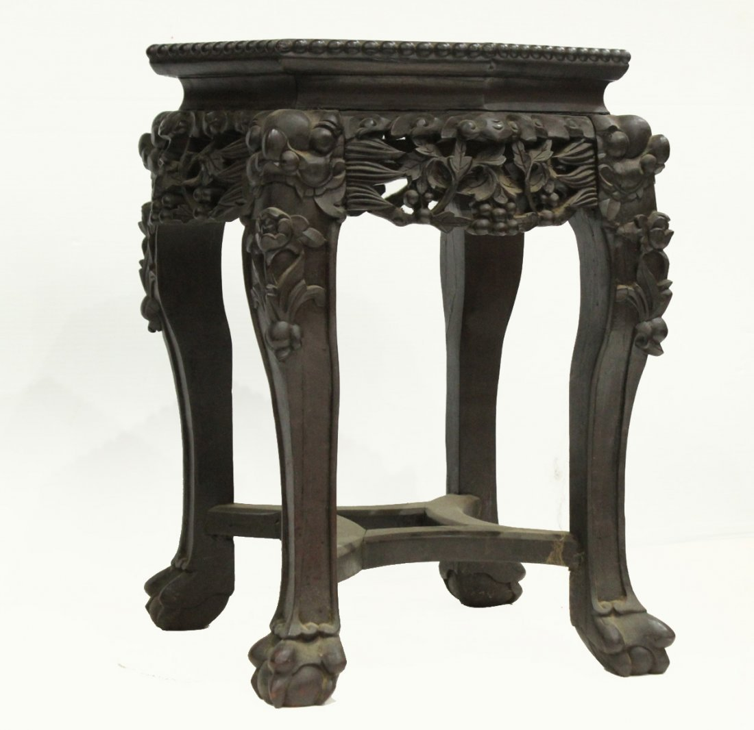 Antique HEAVILY CARVED ORIENTAL TABORET STAND