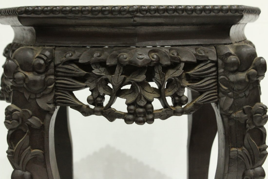Antique HEAVILY CARVED ORIENTAL TABORET STAND - 2
