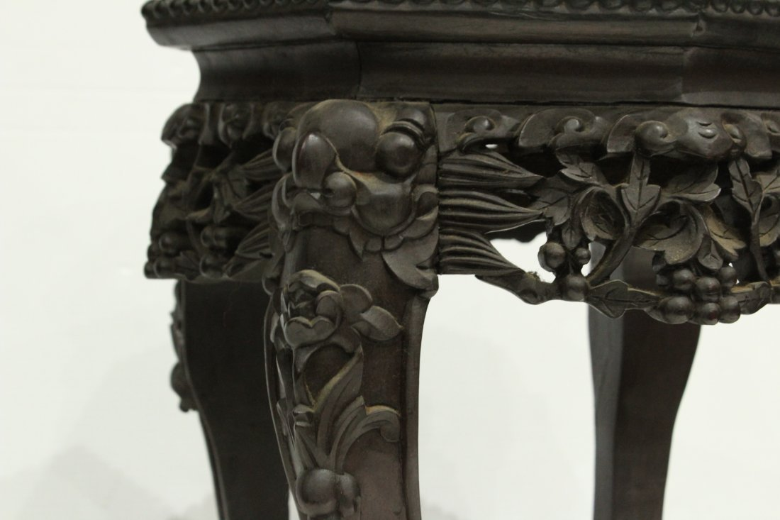 Antique HEAVILY CARVED ORIENTAL TABORET STAND - 3
