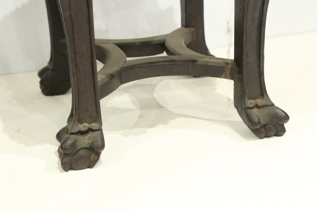 Antique HEAVILY CARVED ORIENTAL TABORET STAND - 4