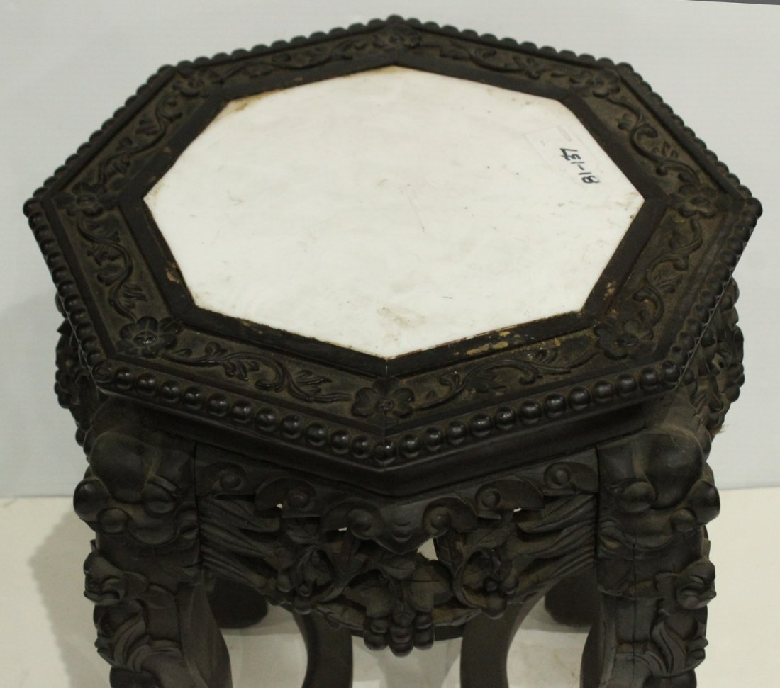 Antique HEAVILY CARVED ORIENTAL TABORET STAND - 6