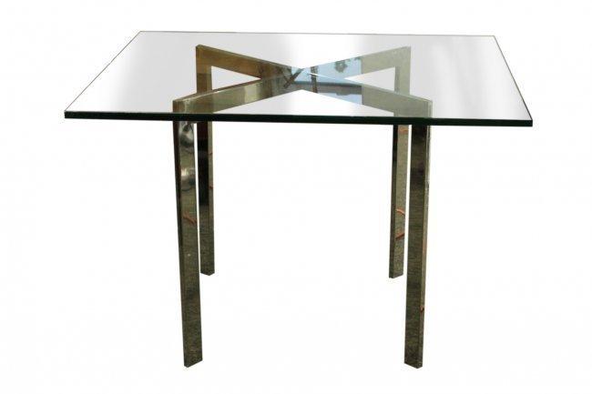 MILO BAUGHMAN Flat Bar Chrome & Glass Top CAFE TABLE