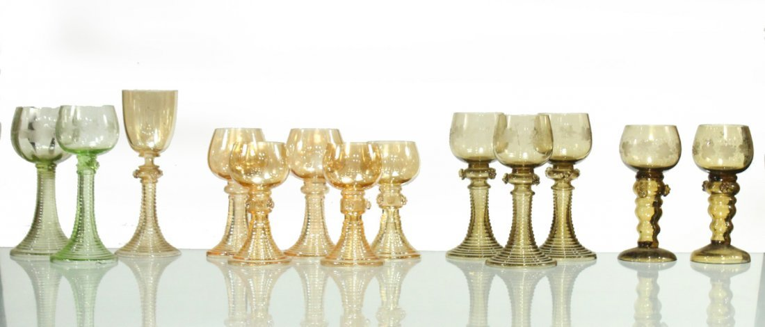 Thirteen [13] Assorted ANTIQUE GLASS CHALICE GOBLETS