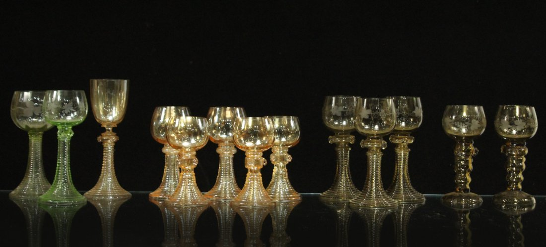 Thirteen [13] Assorted ANTIQUE GLASS CHALICE GOBLETS - 2