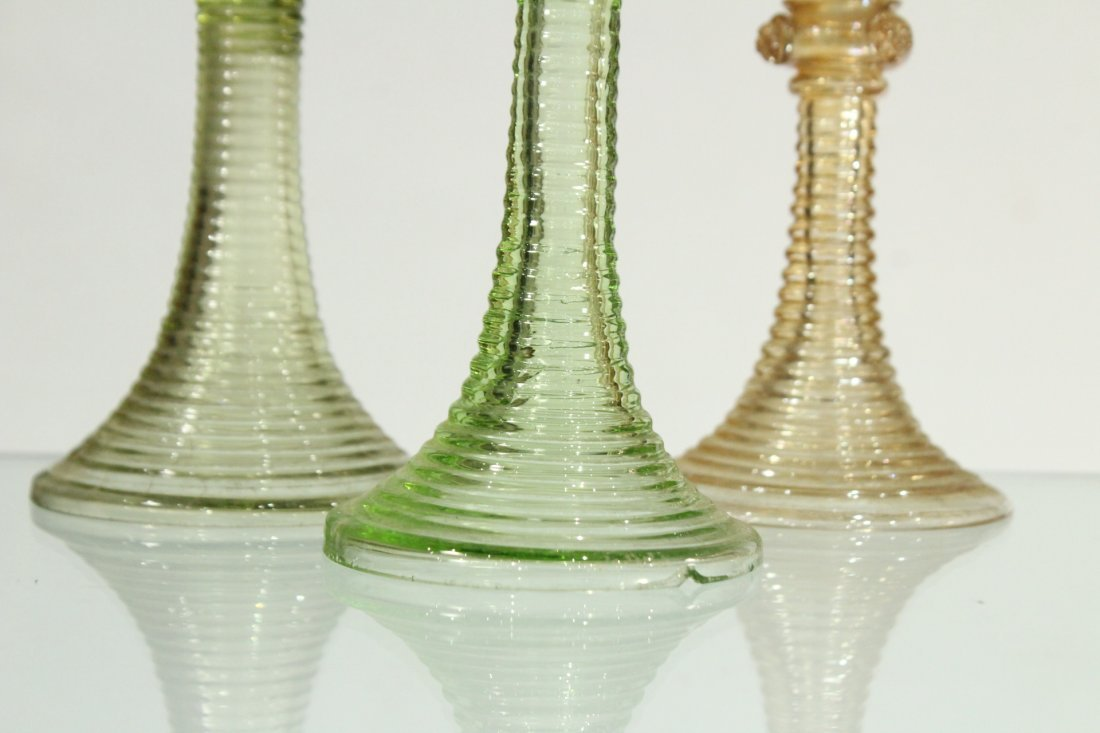 Thirteen [13] Assorted ANTIQUE GLASS CHALICE GOBLETS - 3