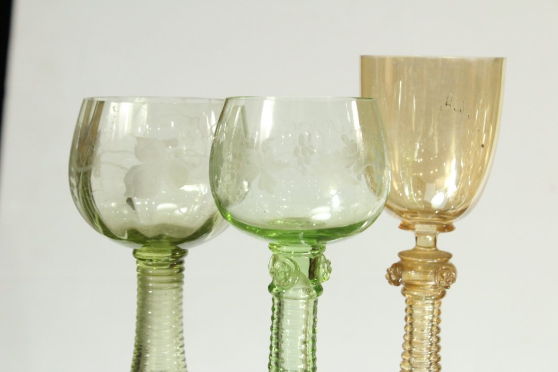 Thirteen [13] Assorted ANTIQUE GLASS CHALICE GOBLETS - 4