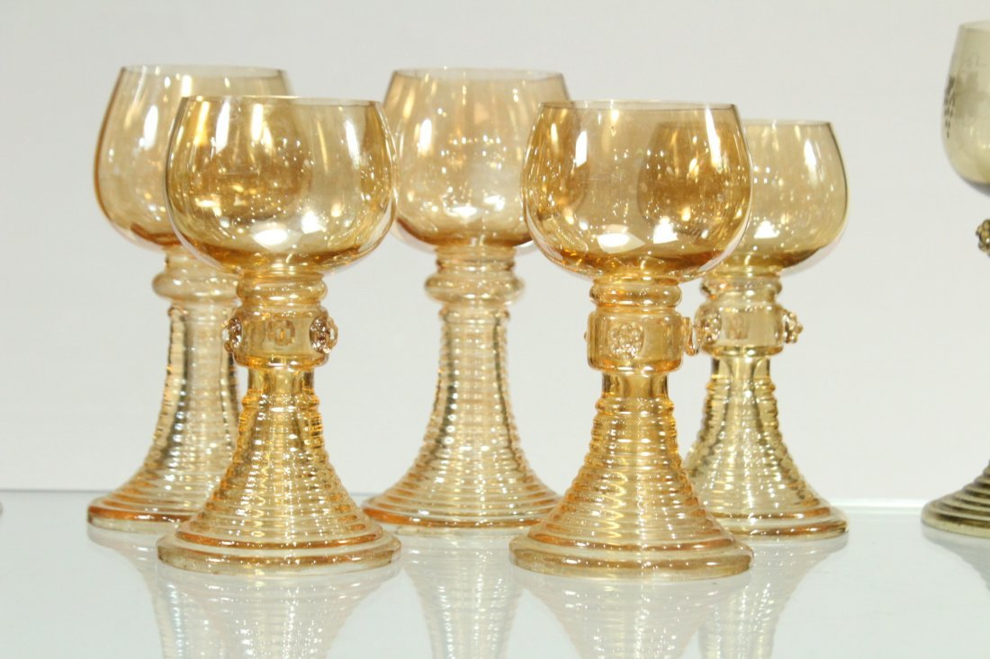 Thirteen [13] Assorted ANTIQUE GLASS CHALICE GOBLETS - 5