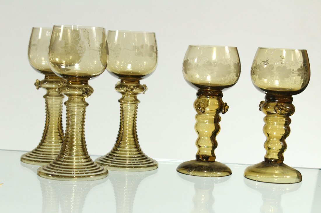 Thirteen [13] Assorted ANTIQUE GLASS CHALICE GOBLETS - 6