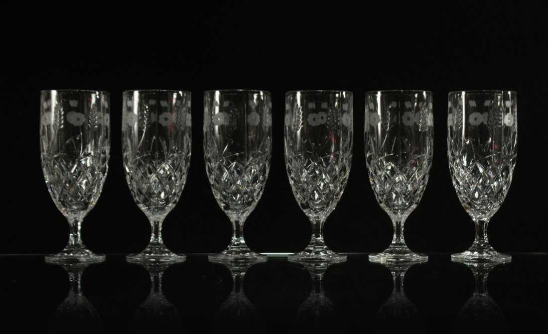 Six [6] FINE CUT ETCHED CRYSTAL GLASS STEMWARE