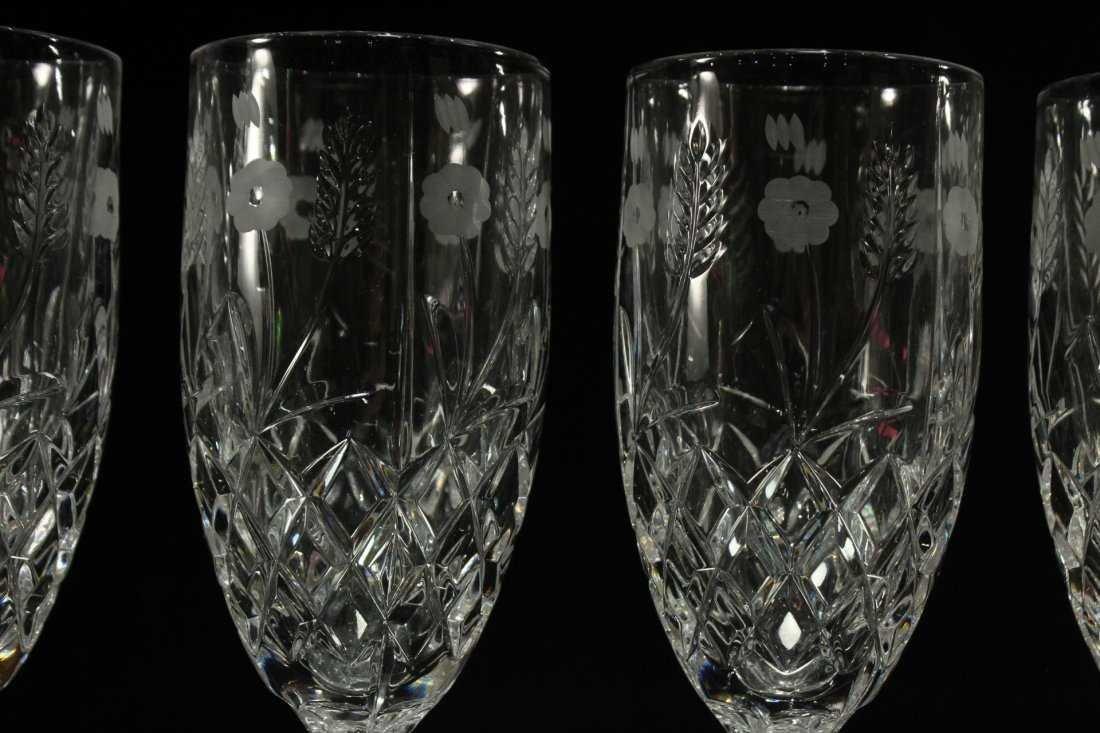 Six [6] FINE CUT ETCHED CRYSTAL GLASS STEMWARE - 2