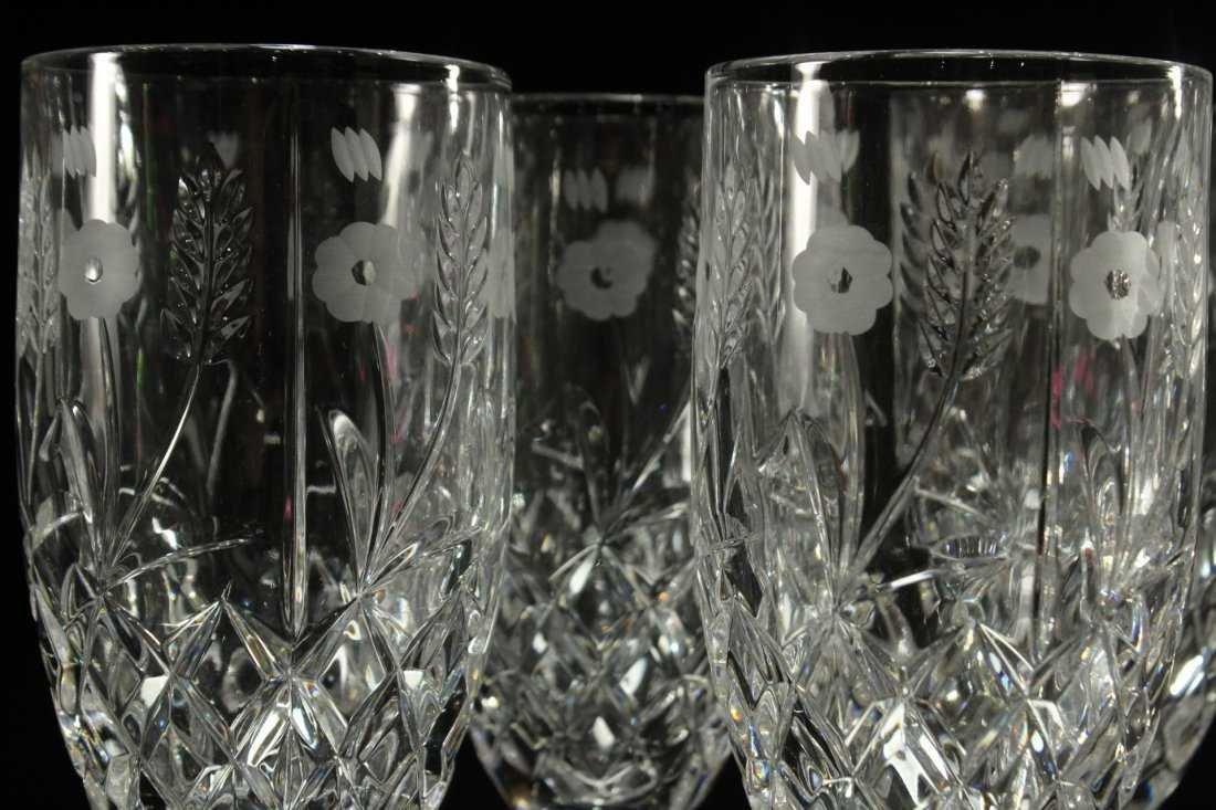 Six [6] FINE CUT ETCHED CRYSTAL GLASS STEMWARE - 5