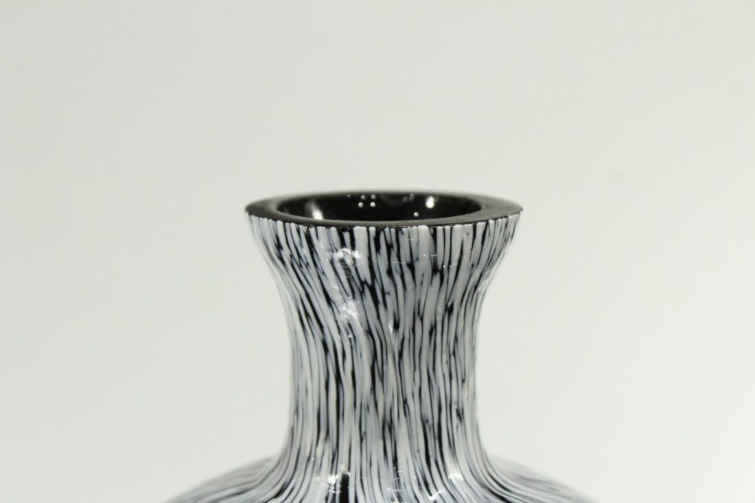 Mid-century Modern Italian Glass Speckled Vase - 4