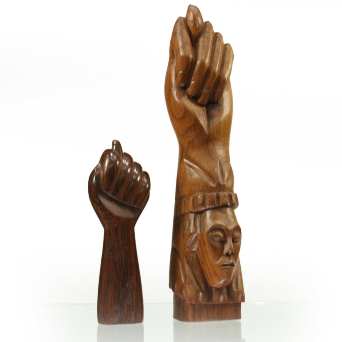 Two [2] Mid-Century Modern Carved Teak Hand Sculptures
