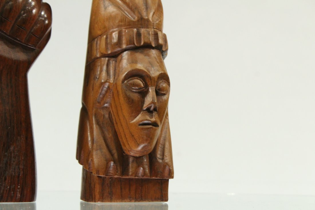 Two [2] Mid-Century Modern Carved Teak Hand Sculptures - 2