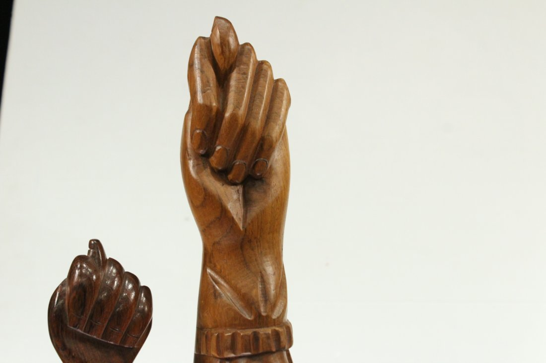 Two [2] Mid-Century Modern Carved Teak Hand Sculptures - 3