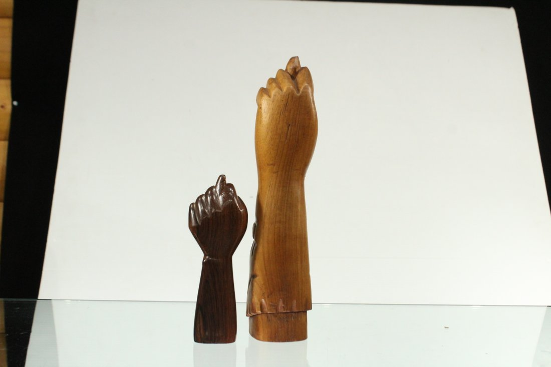Two [2] Mid-Century Modern Carved Teak Hand Sculptures - 4