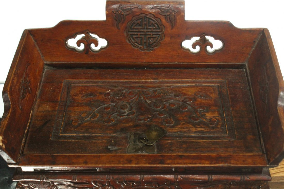 Antique Oriental Asian Trinket box with side drawer - 3