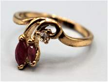 10 K YELLOW GOLD RUBY AND DIAMOND RING