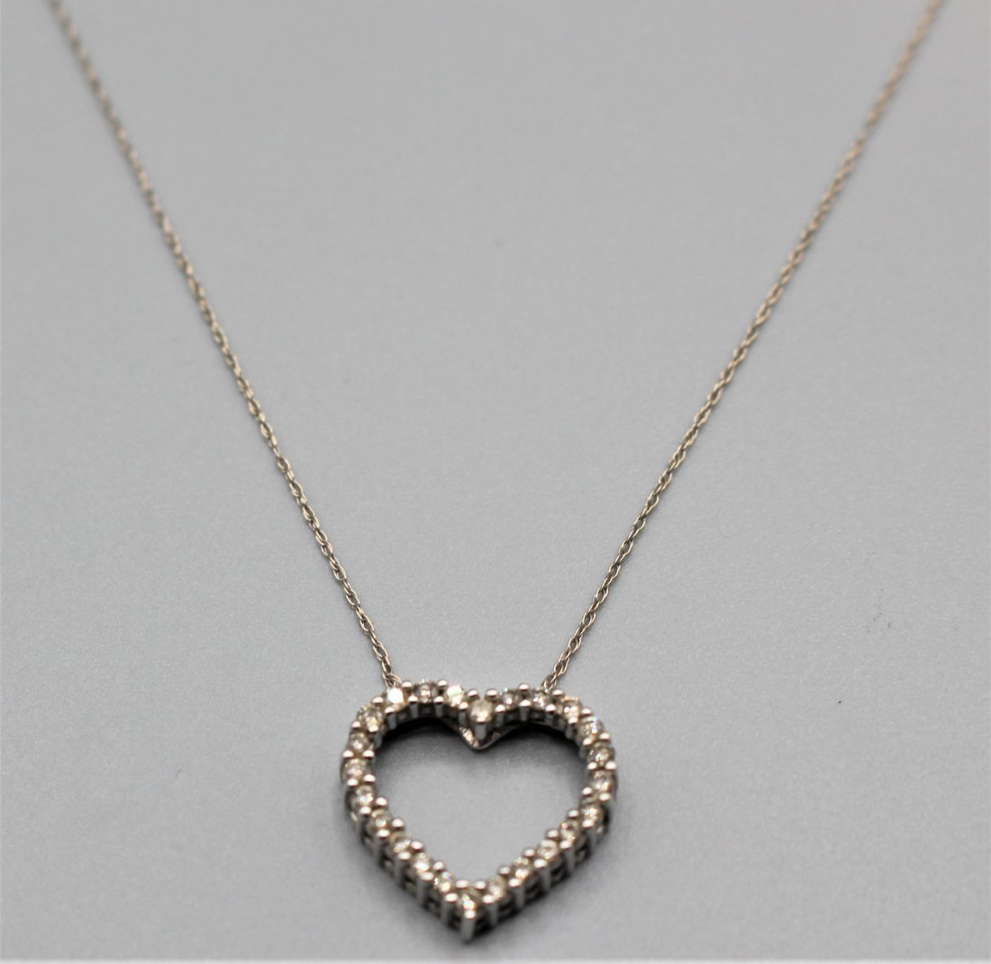 10 K WHITE GOLD DIAMOND HEART PENDANT NECKLACE - 2